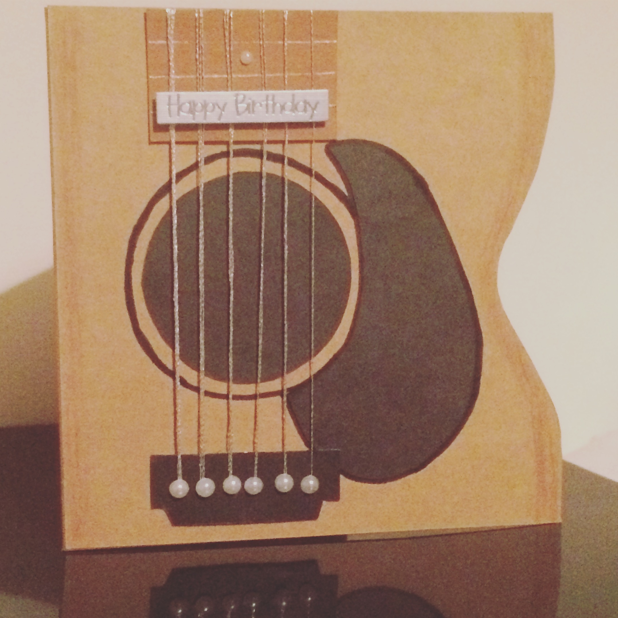 Guitar themed/shaped handmade card - music cards
