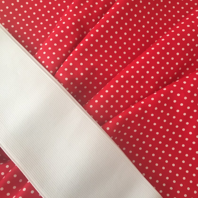 Red and white dot fabric and wide white elastic
