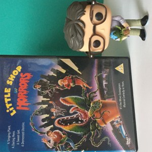 Spring Movie Favourites - Little Shop of Horrors DVD with Seymour holding Audrey II Funko Pop.