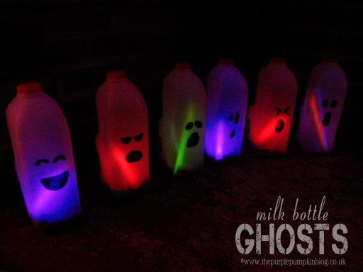 Milk Bottle Ghosts - from The Purple Punmkin Blog