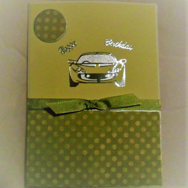 Car Crazy - Handmade Card - silver car on pale green background, with green ribbon accent and coordinating green and pale green polkadot paper
