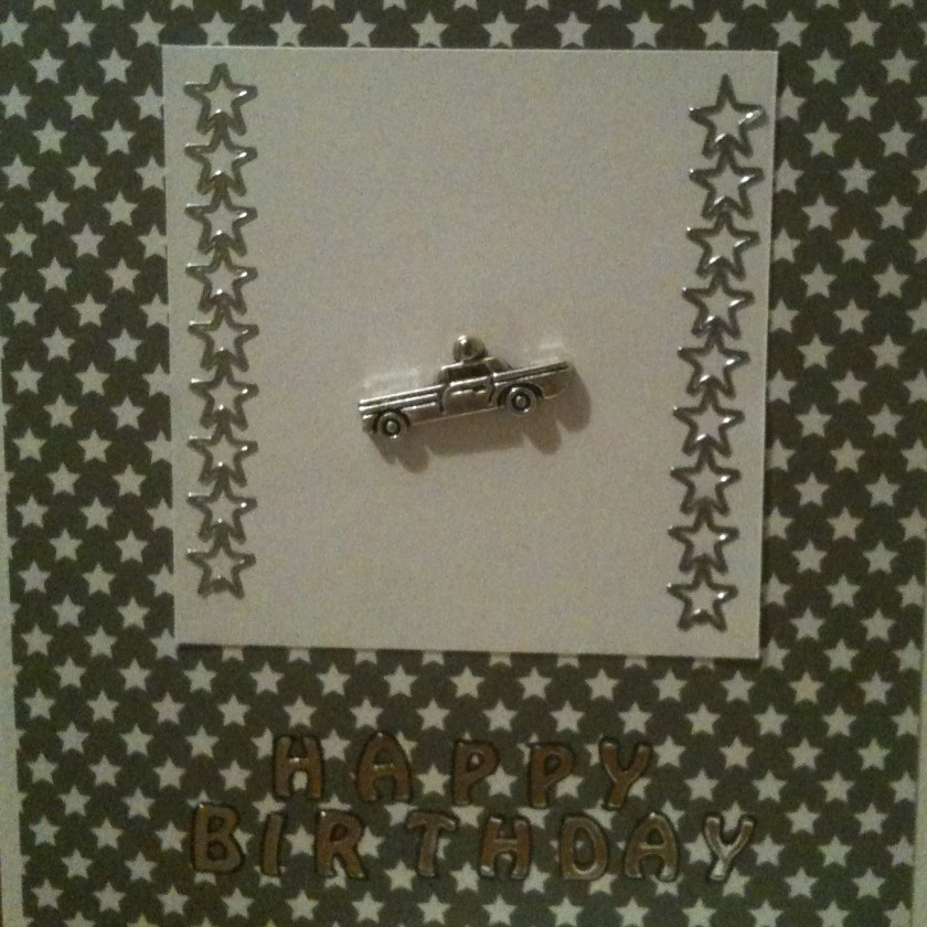Car Crazy - Handmade Card Silver car charm with grey and silver star accents