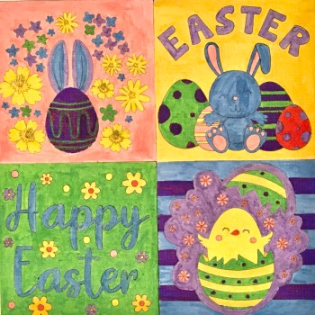 """Four coloured in Easter Canvasses with bunny and egg imagery, and """"Happy Easter"""" wording"""