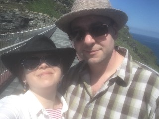 Selfie of Kay and Stu (The Craft Room and Beyond) taken on the bridge at Tintagel