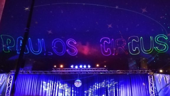 Paulos Circus, the ceiling of the big top, lit up with the circus name!
