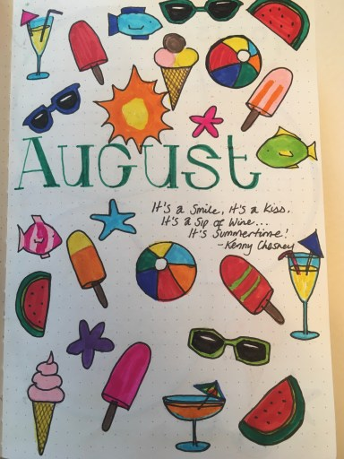 Bujo - August 2021 Monthly Title Page with summer themed doodles
