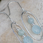 Aquamarine sterling silver earrings