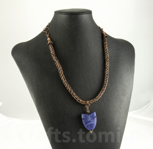 Viking knit with lapis carved pendant