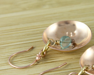 Aqua copper earrings , apatite earrings