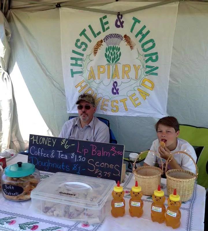 Thistle & Thorn Apiary lip balm, honey, doughnuts, soft pretzels, scones