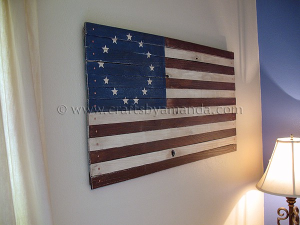 PB Inspired Rustic Colonial American Flag  Crafts by Amanda