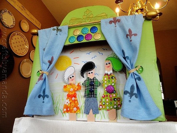 Craft Stick Puppet Theater Crafts By Amanda