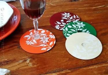 Stenciled CD/DVD Coasters - CraftsbyAmanda.com