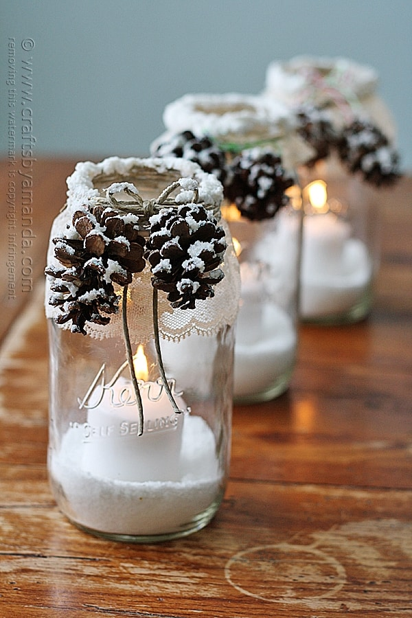 DIY Winter Luminaries:  Snowy Pinecone Candle Jars Tutorial | Crafts by Amanda