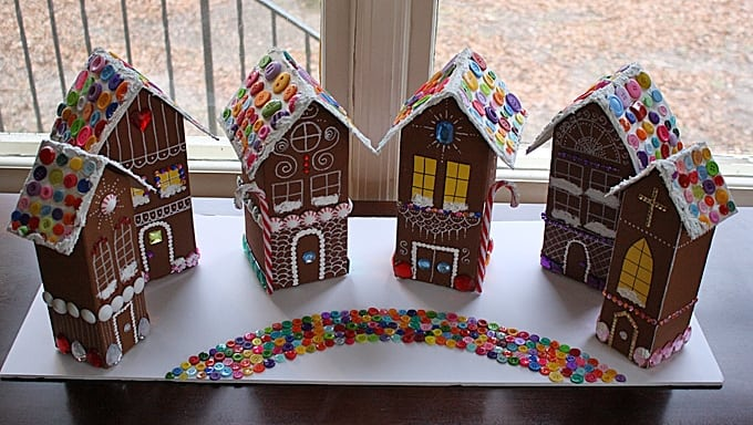 Recycled Village Of Gingerbread Houses Crafts By Amanda