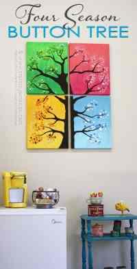 Button Tree Wall Art: 4 seasons, colorful button tree