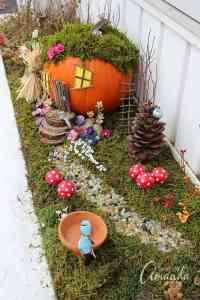 Pumpkin Fairy House: a pumpkin house for fairies!
