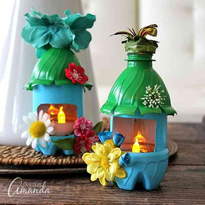 crafts for kids with paper, easy DIY craft ideas for kids, easy paper crafts for kids, DIY craft ideas DIY Kids Crafts You Can Make In Under An Hour Turn empty plastic water bottles into adorable little fairy house night lights! Fun for a child's room or a nursery, or even the garden.
