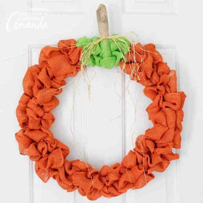 This burlap pumpkin wreath is perfect for fall & all the way through Thanksgiving.You can also use this to make a plain burlap wreath to embellish however!