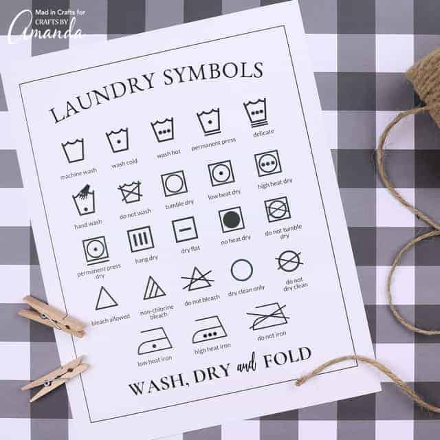 laundry symbols printable