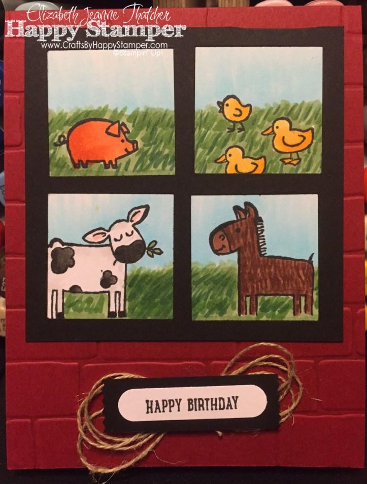 Barnyard Babies, Stampin Up, Birthday, CYCI, brick wall