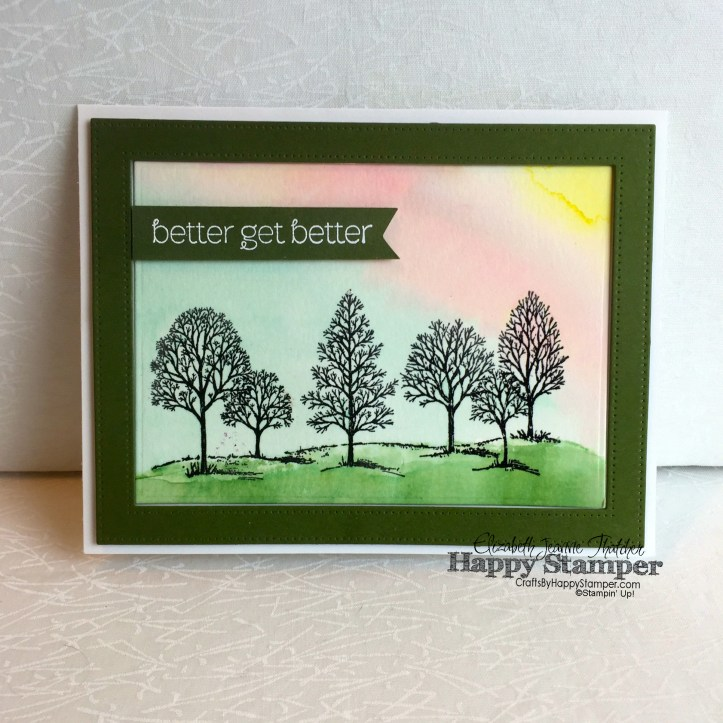 Stampin Up, Lovely As A Tree, A Dozen Thoughts, Watercolor, Emboss Resist