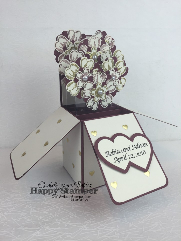 Stampin Up, Flower Shop, Card-in-a-box, Gold Vellum, 3d