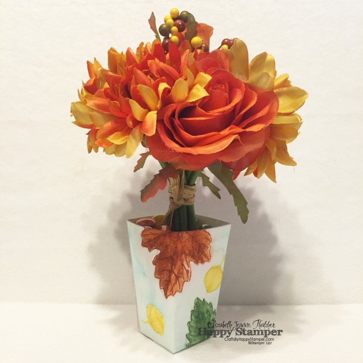 Stampin Up, Vintage Leaves, diy, Flourishing Phrases, Fancy Frost, vase, 3d, diy, popcorn thinlit