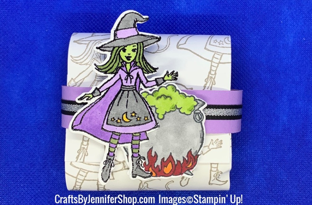 witch, cauldron, party favor, custom paper, stampin up
