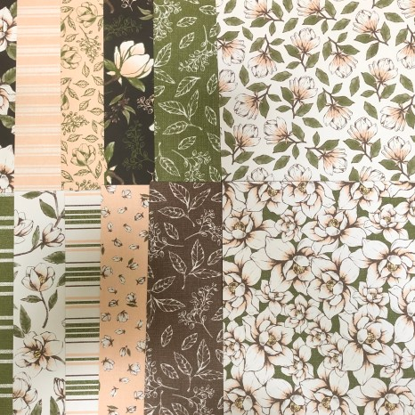 magnolia lane sampler, magnolia, flower, bloom, stripe, leaves, pattern