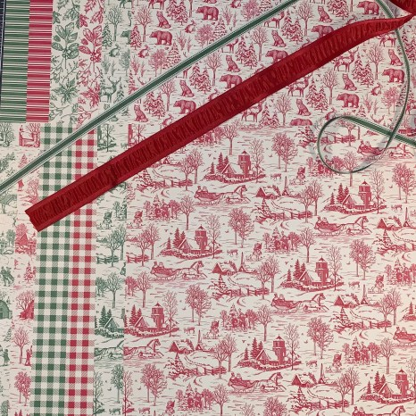 toile tidings, French country, red, green, ribbon, plaid, holiday, monochromatic