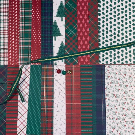 wrapped in plaid, plaid, foil, accent, background, holiday, Christmas, stocking