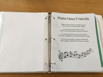"And of course, the first song we taught them, and the one we sing at the end of every meeting is ""Make New Friends""!"