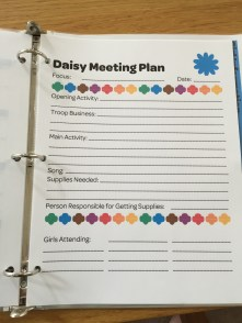I also made a quick form for the Daisy Leader to use to plan meetings.