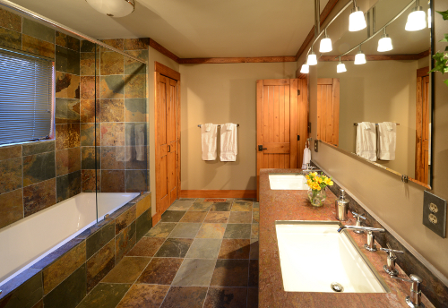 Bath with Infinity Tub on Main Floor - The Craftsman Lodge