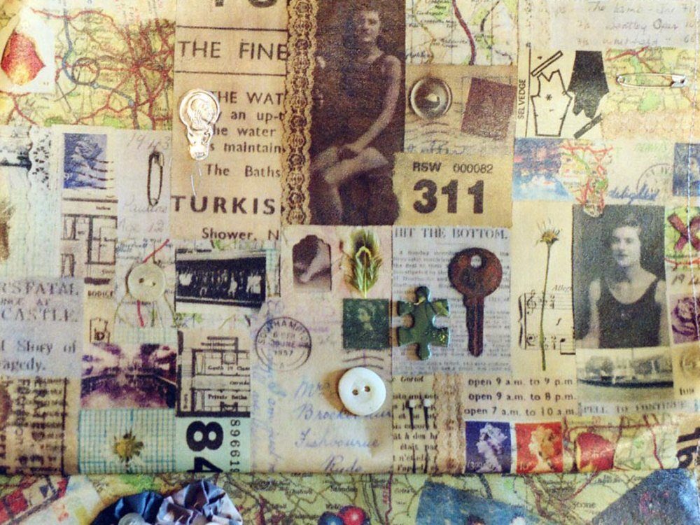 A collage of various objects, photographs and texts from the war.