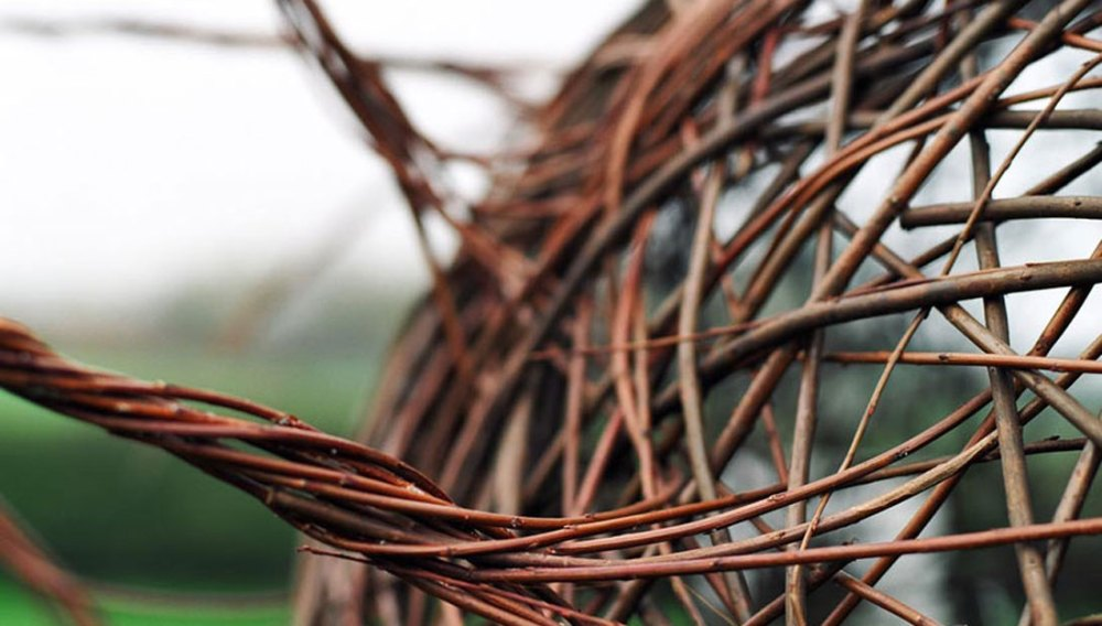 Close up detail of a willow sculpture.