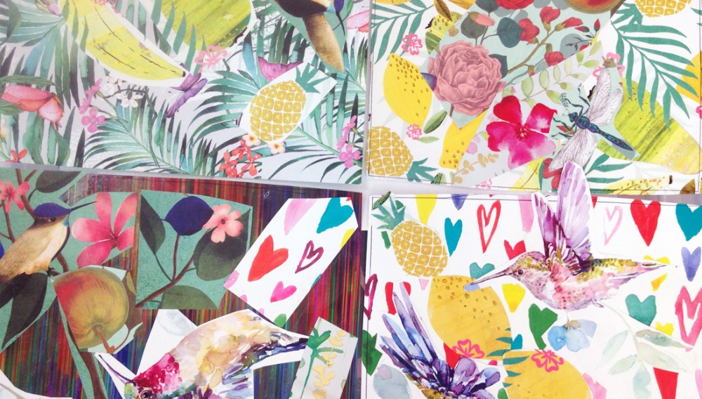Metal sheets printed with colourful designs.
