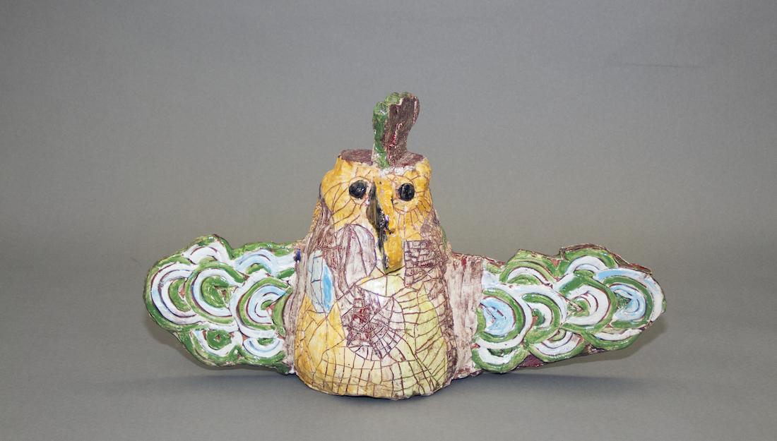 ceramic bird sculpture