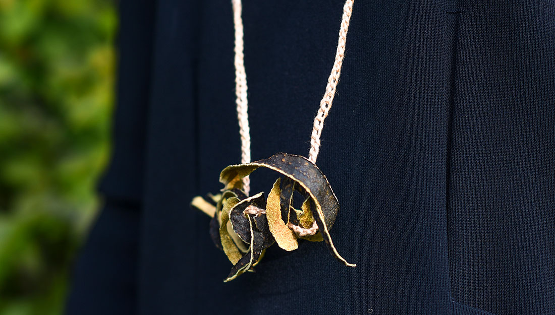 a beautiful necklace made of dried fruit peel
