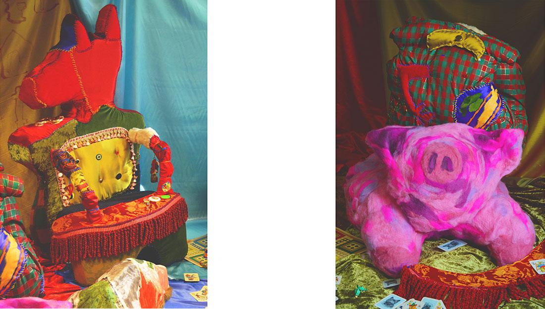 two images showing vibrant textile sculptures.