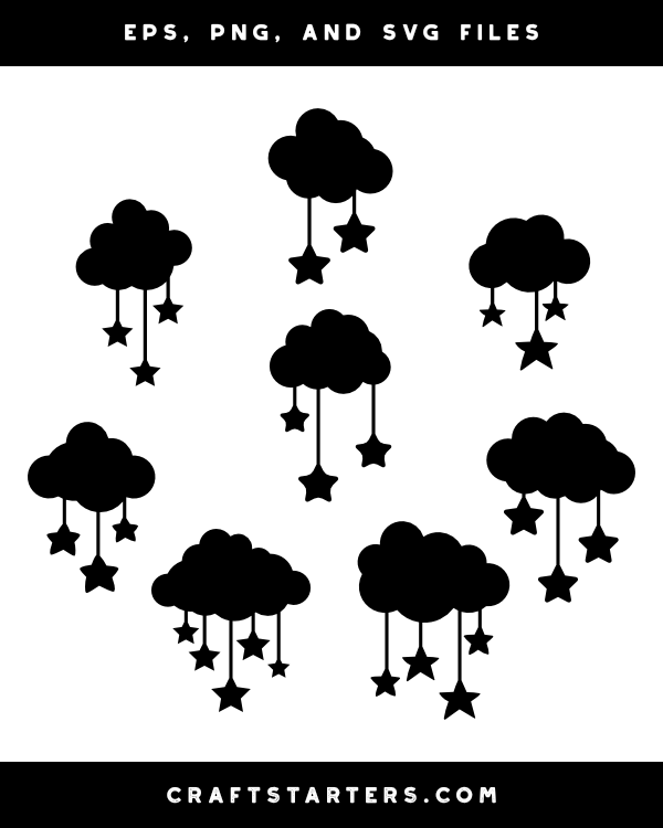 Cloud and Hanging Stars Silhouette Clip Art