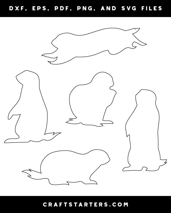 Prairie Dog Outline Patterns: DFX, EPS, PDF, PNG, and SVG