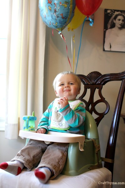 Okay... Maybe Conlan enjoyed the balloons more.  Oddly, he was not smiles about the cake.