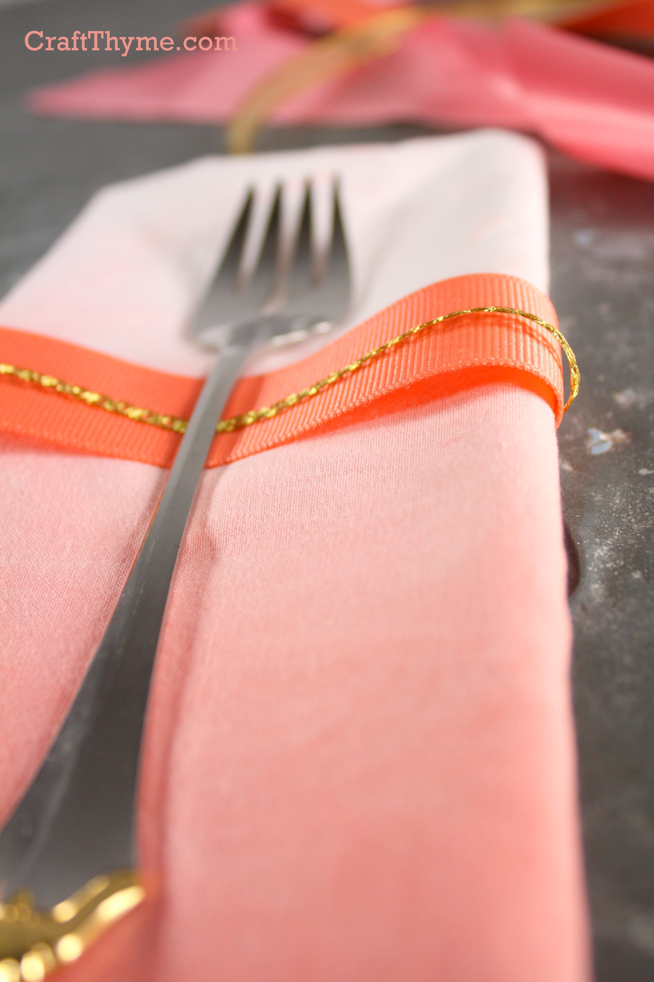 Ombre dyed napkin in peach and pink