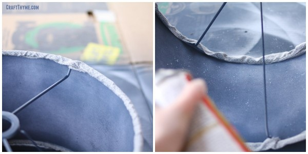 Prepping a lamp shade with adhesive for gold leafing