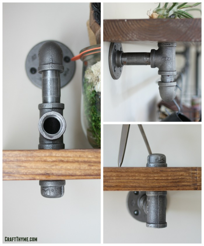 Using pipe to make industrial brackets for shelves.