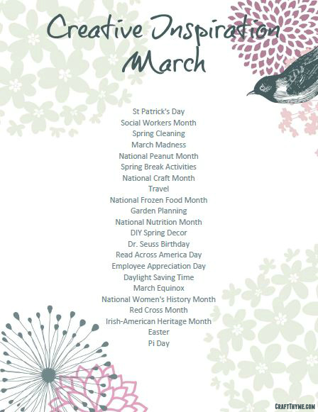 Creative Inspiration for March 2016 free printable