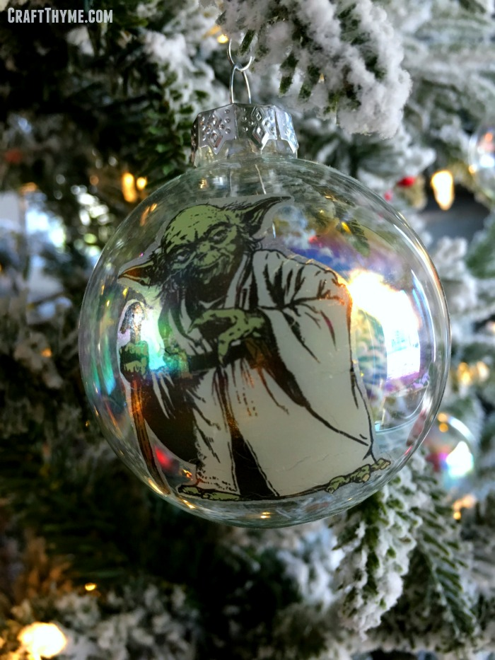 How to make Star Wars Christmas ornaments from temporary tattoos.