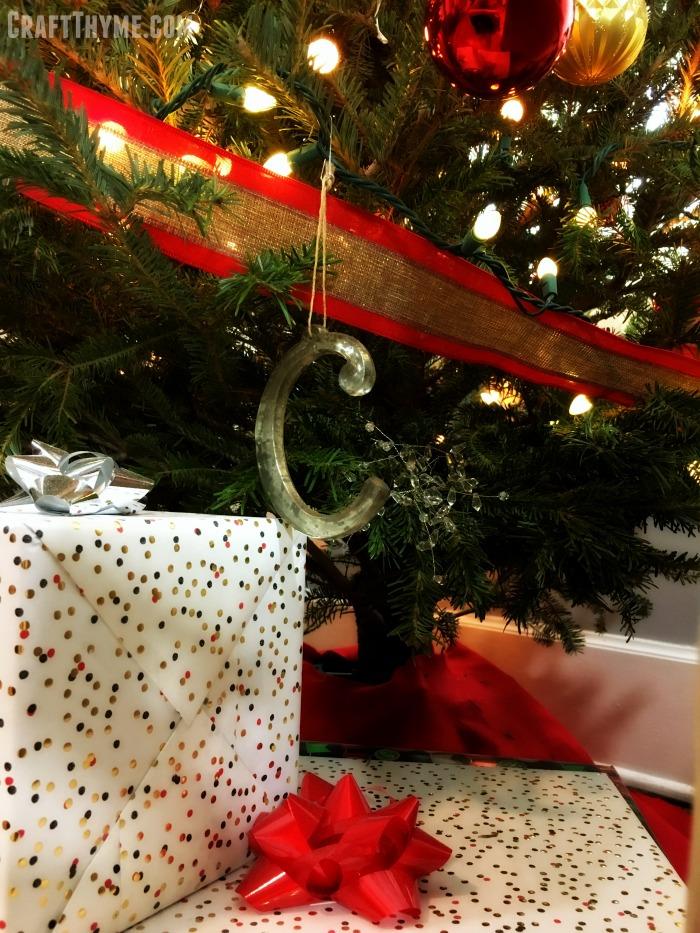 Mercury glass letter Christmas ornaments